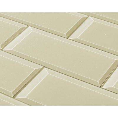 3 in. x 12 in. Frosted Elegance Cecillia Creme Sparkle Glass Peel and Stick Wall Tile Sample