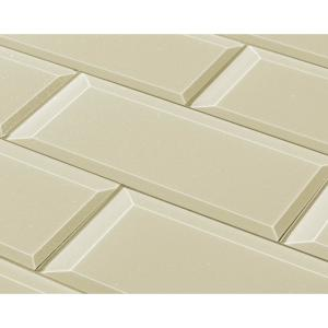 "Subway 3"" x 12"" Rectangle Beige Taupe Beveled Glossy Glass Peel & Stick Decorative Bathroom Wall Tile Backsplash Sample"