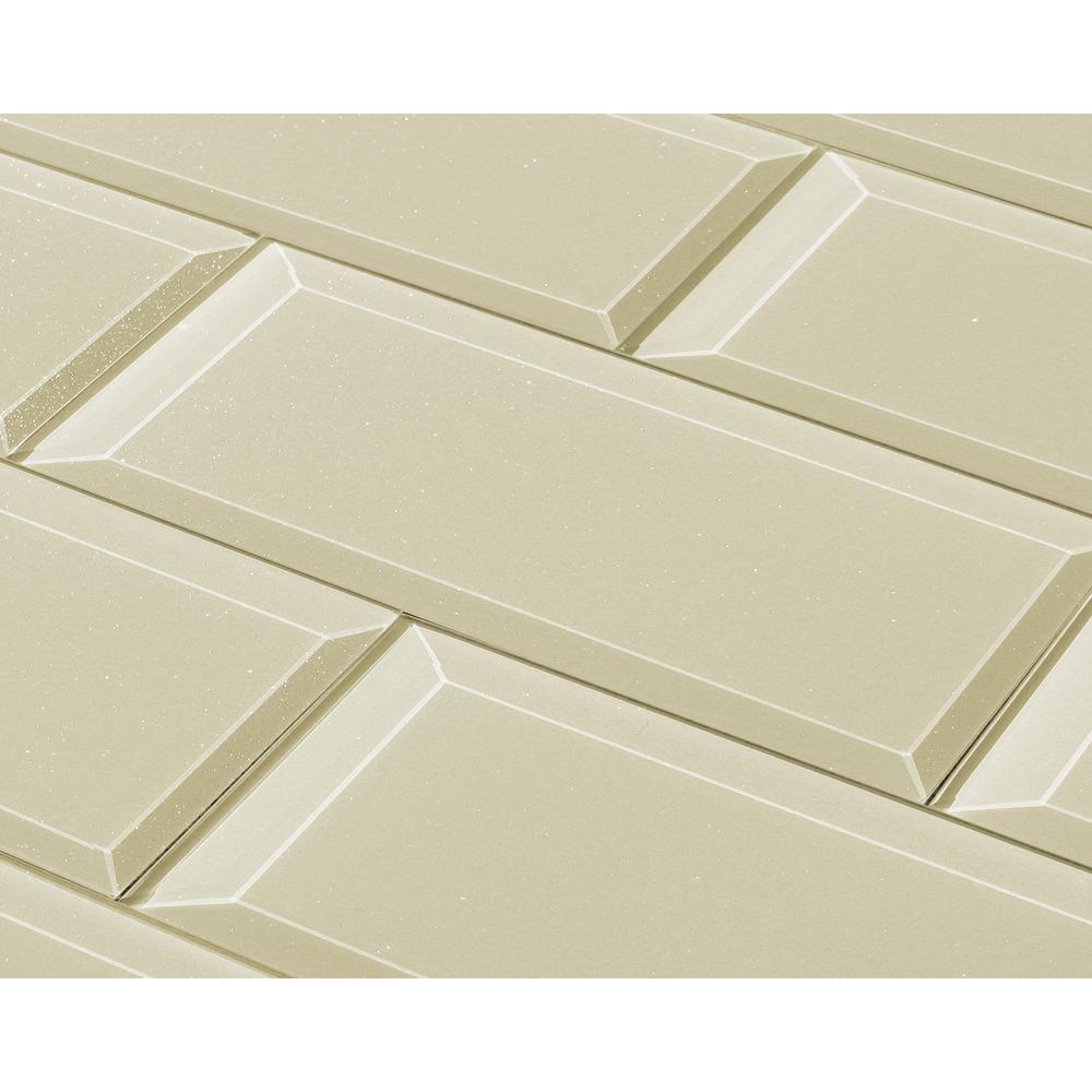 Abolos Frosted Elegance Creme Subway 3 In X 12 In Glossy Glittery Glass Subway Tile 1 Sq Ft Onlfeg0312 Ce The Home Depot