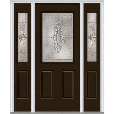 64 in. x 80 in. Heirloom Master Left-Hand 1/2-Lite Decorative Painted Fiberglass Smooth Prehung Front Door w/ Sidelites