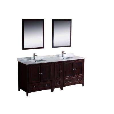 Oxford 72 in. Double Vanity in Mahogany with Ceramic Vanity Top in White with White Basins and Mirror with Side Cabinet