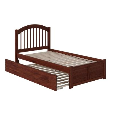 Windsor Twin Extra Long Bed with Footboard and Twin Extra Long Trundle in Walnut