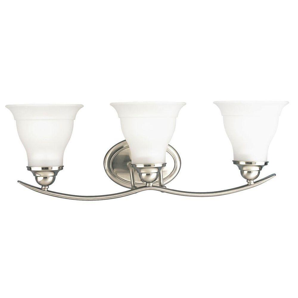 Progress Lighting Trinity Collection 3-Light Brushed Nickel Vanity Light with Etched Glass Shades