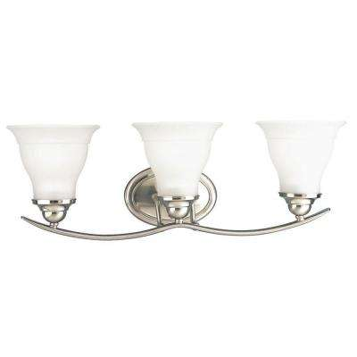 Trinity 24 in. 3-Light Brushed Nickel Bathroom Vanity Light with Glass Shades
