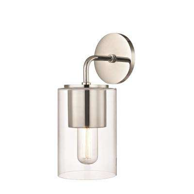 Lula 1-Light Polished Nickel Wall Sconce with Clear Glass