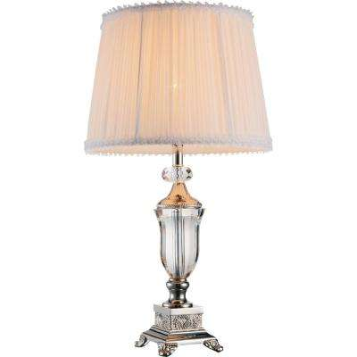 Yale 20 in. Brushed Nickel Table Lamp with white Shade
