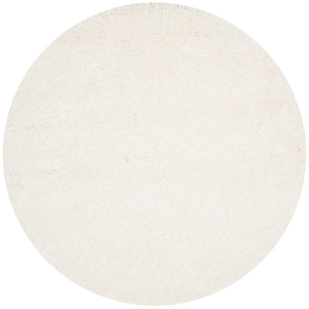 California Shag White 4 ft. x 4 ft. Round Area Rug