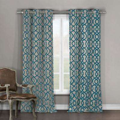 Harris 84 in. L x 36 in. W Polyester Blackout Curtain Panel in Teal-Taupe (2-Pack)