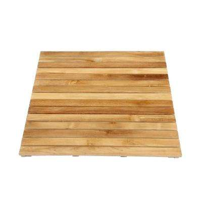 30 in. x 36 in. Bathroom Shower Mat in Natural Teak
