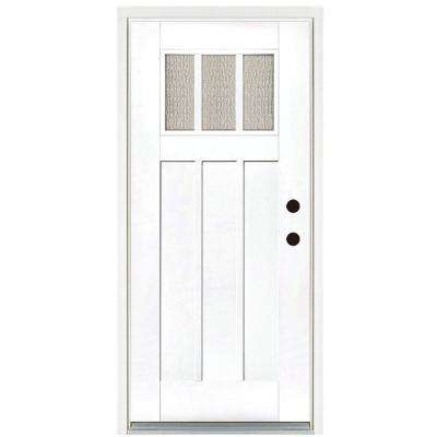 36 in. x 80 in. Smooth White Left-Hand Inswing 3-Lite Water Wave Craftsman Finished Fiberglass Prehung Front Door