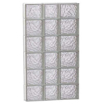 21.25 in. x 42.5 in. x 3.125 in. Frameless Ice Pattern Non-Vented Glass Block Window