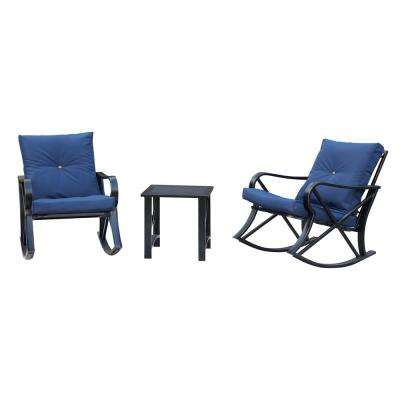 3-Piece Metal Patio Rocker Conversation Set with Blue Cushions