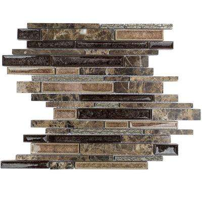 Olive Branch Dark Roast Glass and Stone Mosaic Tile - 3 in. x 6 in. Tile Sample