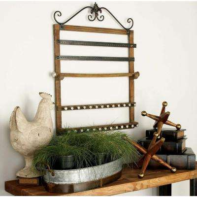 23 in. x 30 in. Shabby Chic Wood and Iron Wall Jewelry Rack