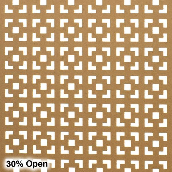 American Pro Decor 72 in. x 24 in. x 1/8 in. Unfinished Multi Square Decorative Perforated Paintable MDF Screening Panel Insert