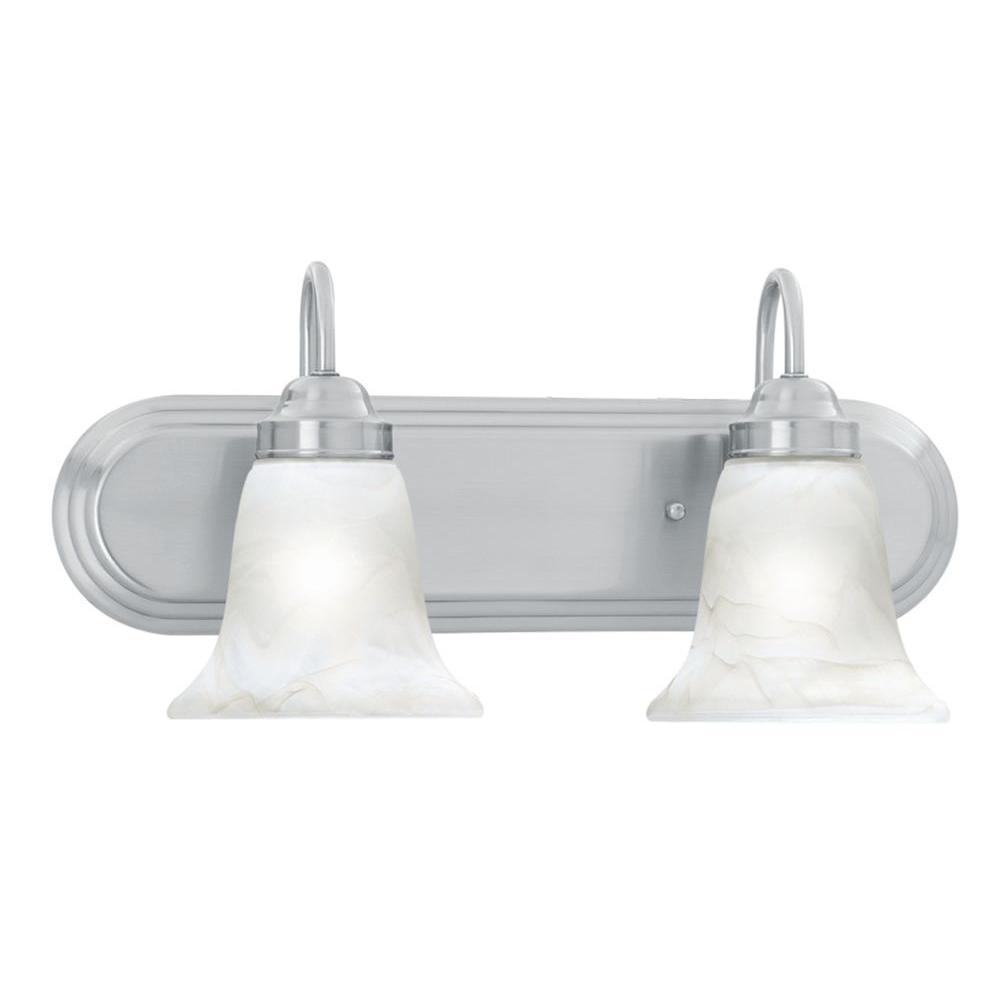 home depot bathroom lighting brushed nickel lighting homestead 2 light brushed nickel wall 25298
