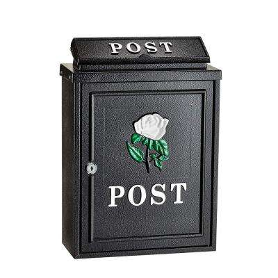 Black Steel Embossed Rose Postbox Mailbox