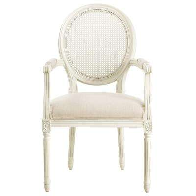 Jacques Antique Ivory Oval Back Dining Arm Chair