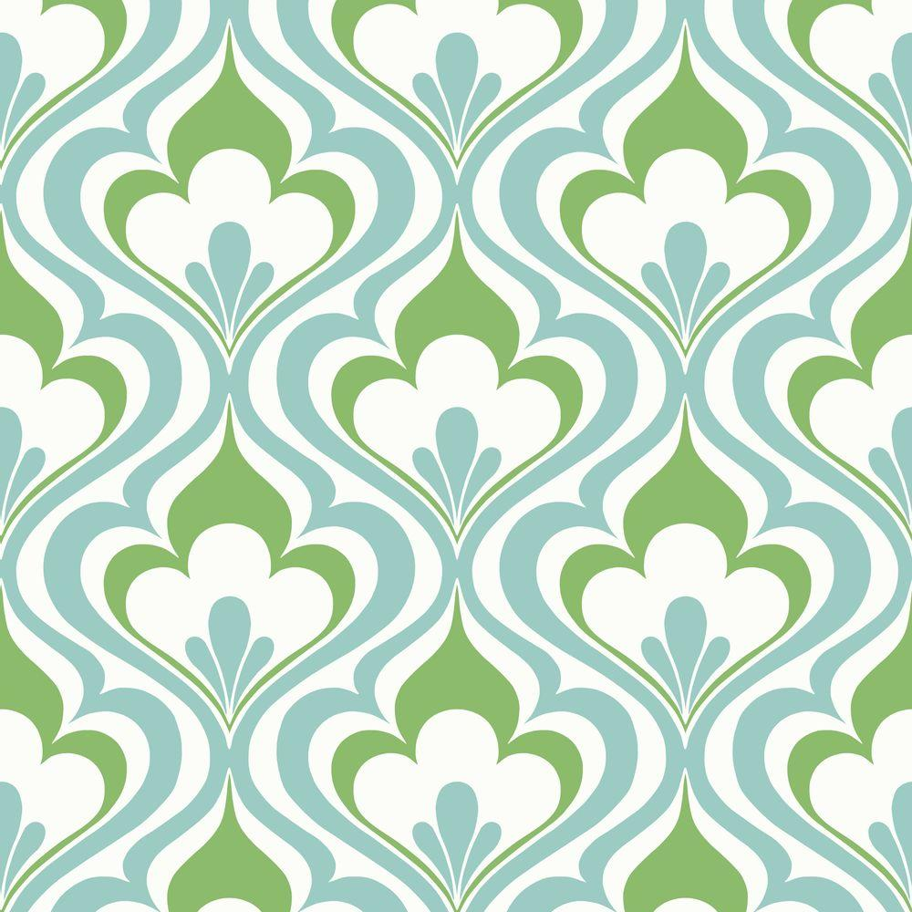 Lola Blue Ogee Bargello Wallpaper Sample