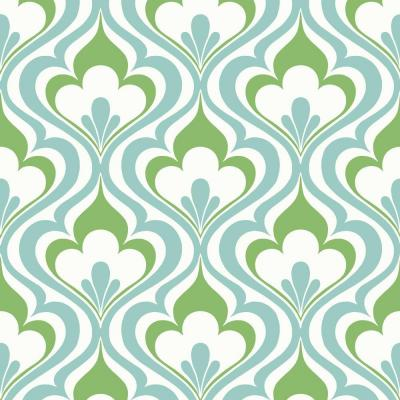Lola Blue Ogee Bargello Blue Wallpaper Sample