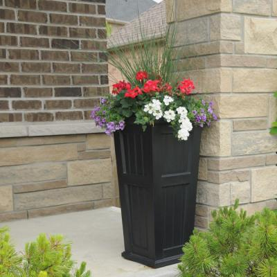 Self-Watering Cape Cod 15-1/2 in. Square Black Plastic Column Planter