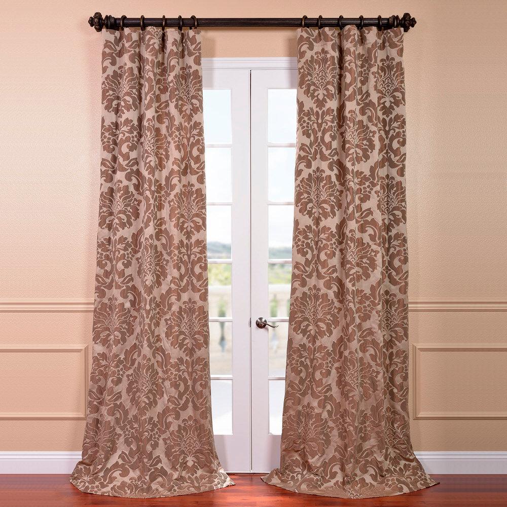 Exclusive Fabrics & Furnishings Astoria Taupe and Mushroom Faux Silk Jacquard Curtain Panel - 50 inch W x 108 inch L by Exclusive Fabrics & Furnishings
