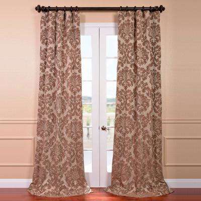 Astoria Taupe and Mushroom Faux Silk Jacquard Curtain Panel - 50 in. W x 84 in. L