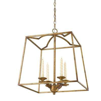 Athena 4-Light Grecian Gold Pendant - Gold - Pendant Lights - Lighting - The Home Depot