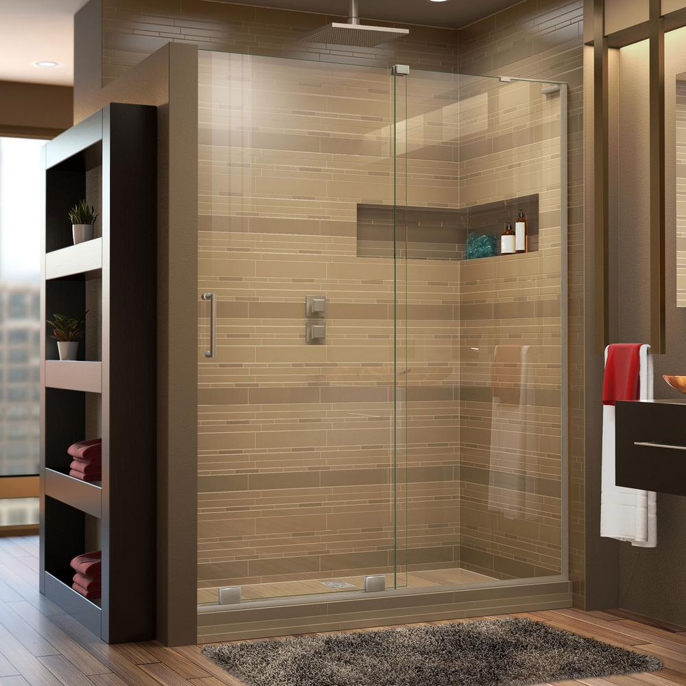 DreamLine Mirage-X 44 in. to 48 in. x 72 in. Semi-Frameless Sliding Shower Door in Brushed Nickel-SHDR-1948723R-04 - The Home Depot & DreamLine Mirage-X 44 in. to 48 in. x 72 in. Semi-Frameless ... pezcame.com