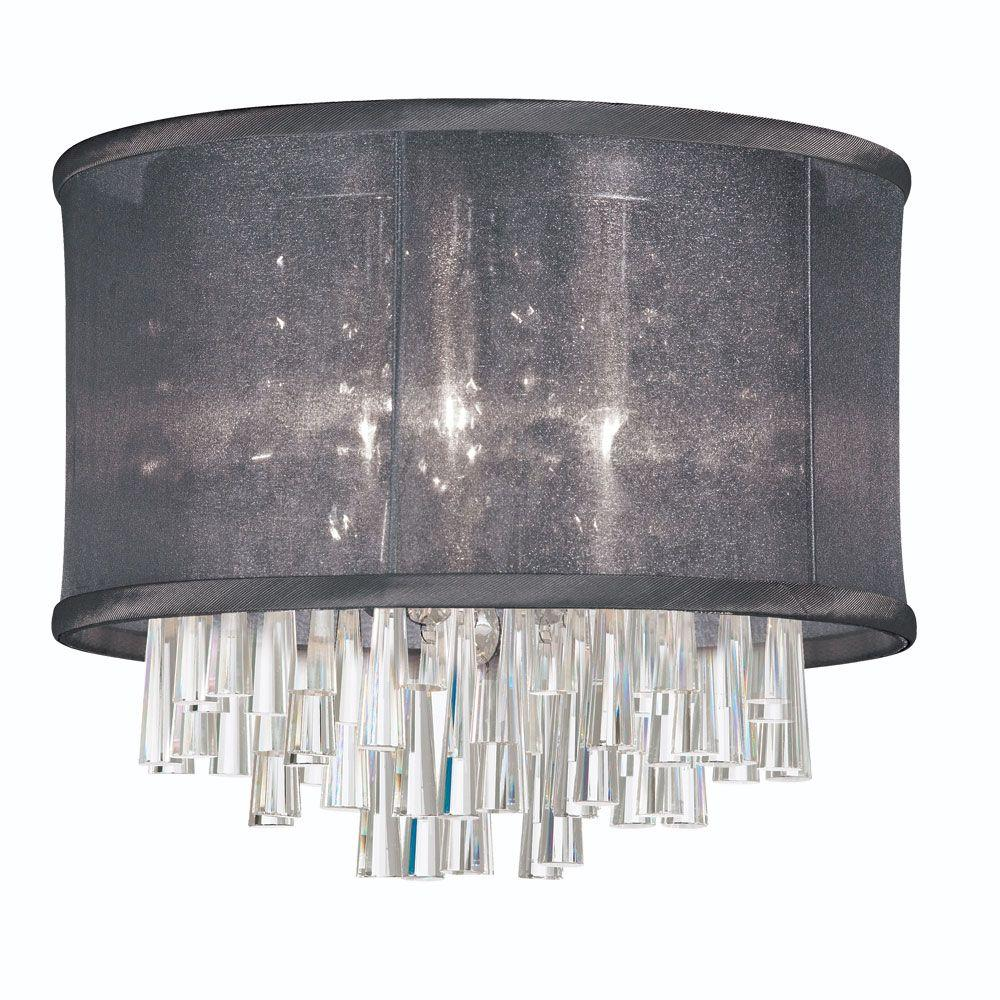 Josephine 4-Light Polished Chrome Crystal Flushmount with Black Organza Drum