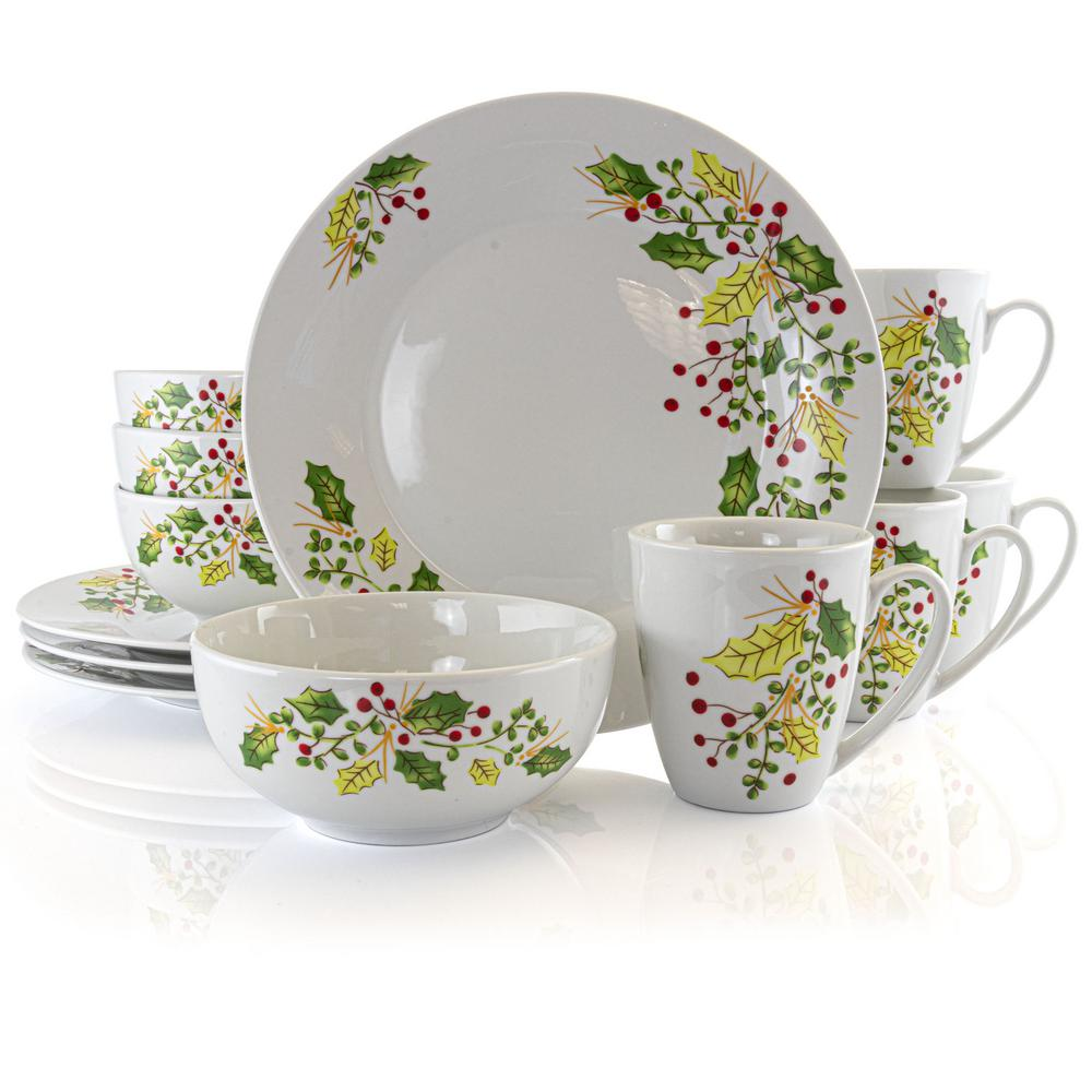 Holiday Holly 12-Piece Casual White Ceramic Dinnerware Set (Service for 4)