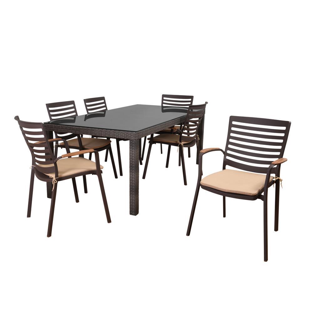 Atlantic Davie 7-Piece Synthetic Wicker Rectangular Patio Dining Set with Tan Cushions