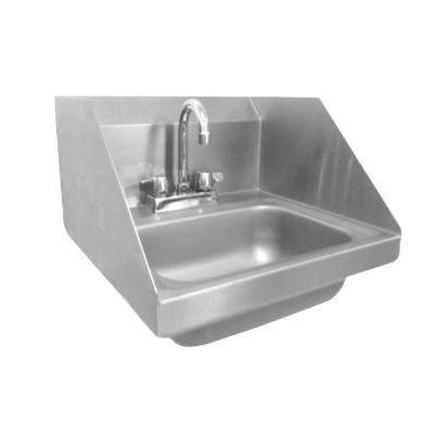 Wall Mount Stainless Steel 17 in. 2-Hole Single Bowl Kitchen Sink with End Splashes and Lead-Free Faucet