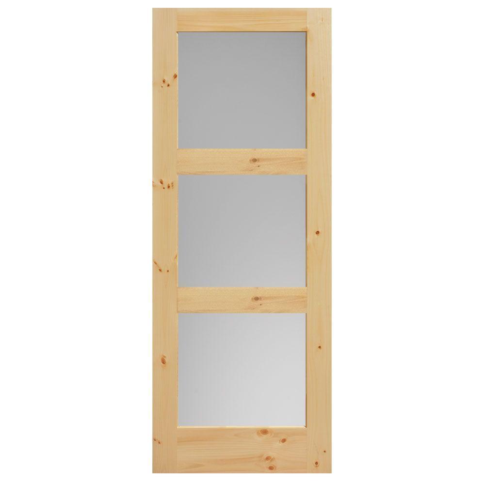 Masonite 40 in. x 84 in. Knotty Pine Veneer 3-Lite Equal Solid Wood ...