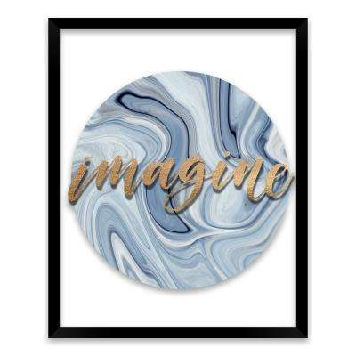 "17 in. x 21 in. ""Imagine"" by Nikki Chu Screen Print on Glass Shadowbox Framed Wooden Wall Art"