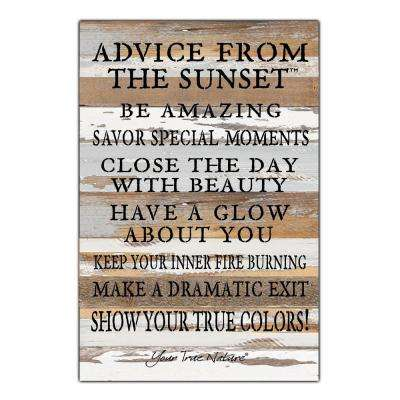 """Advice From Sunset"" Reclaimed Wood Decorative Sign"