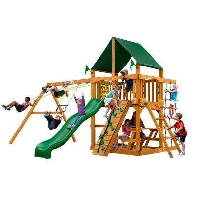 Chateau with Amber Posts and Sunbrella Canvas Forest Green Canopy Cedar Playset