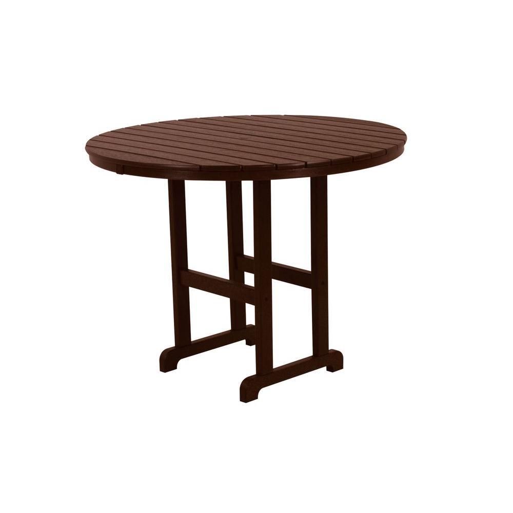 La Casa Cafe 48 in. Mahogany Round Plastic Outdoor Patio Counter Table