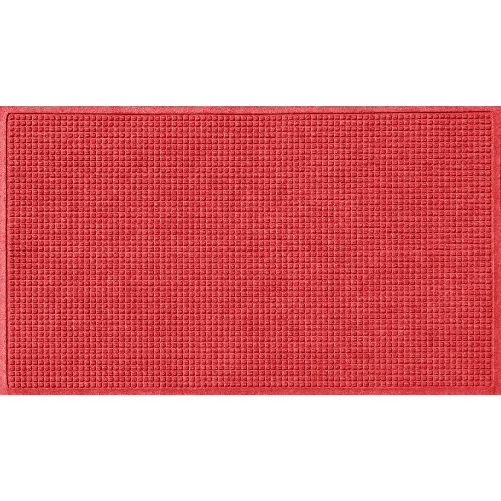 Solid Red 36 in. x 60 in. Squares Polypropylene Door Mat