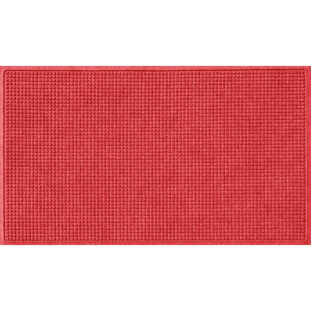 Aqua Shield Solid Red 36 in. x 84 in. Squares Polypropylene Door Mat