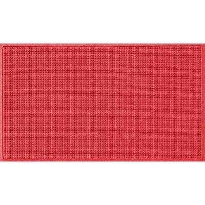 Solid Red 36 in. x 84 in. Squares Polypropylene Door Mat