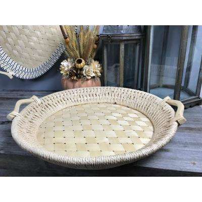 Natural and Unfinished Round Basket Tray
