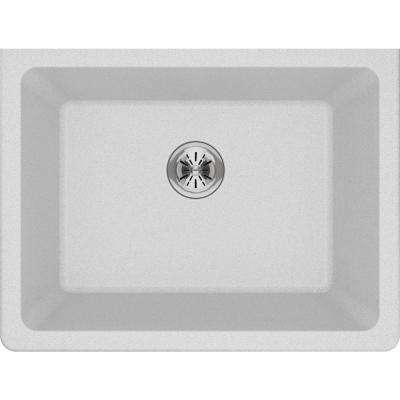 Quartz Classic Perfect Drain Undermount 25 in. Laundry Sink in White