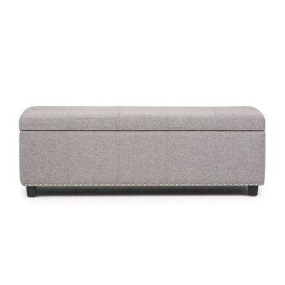 Kingsley 48 in. Transitional Storage Ottoman in Cloud Grey Linen Look Fabric