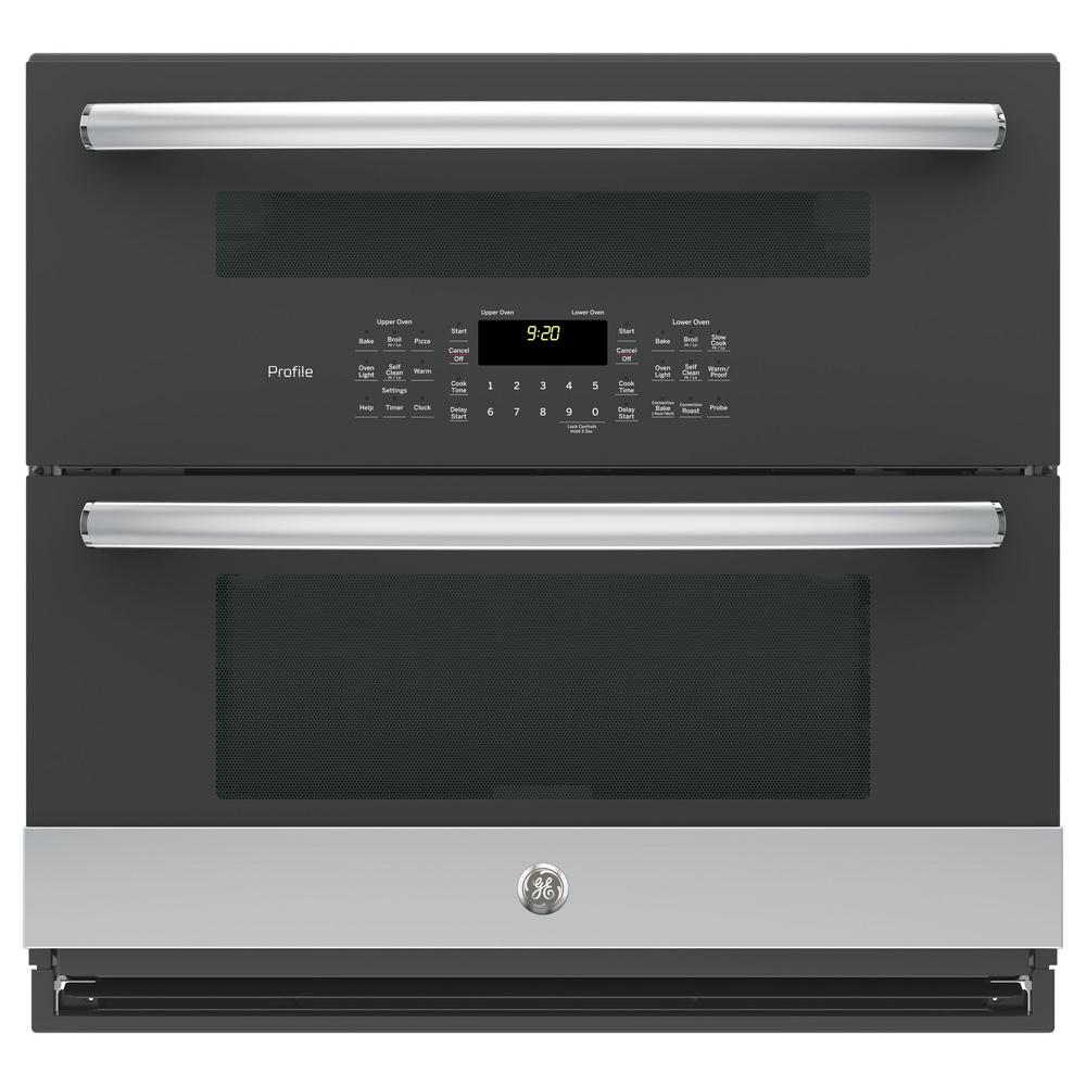 GE Profile 30 in. Double Electric Wall Oven with Convection (Lower Oven) Self-Cleaning in Stainless Steel