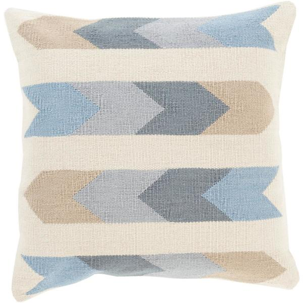 Thames Ivory Geometric Polyester 20 in. x 20 in. Throw Pillow