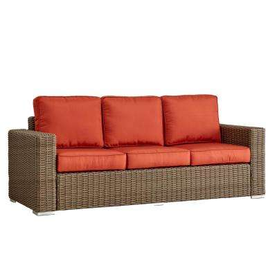 Camari Mocha Square Arm Wicker Outdoor Sofa with Red Cushion