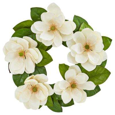23 in. Indoor Magnolia Artificial Wreath