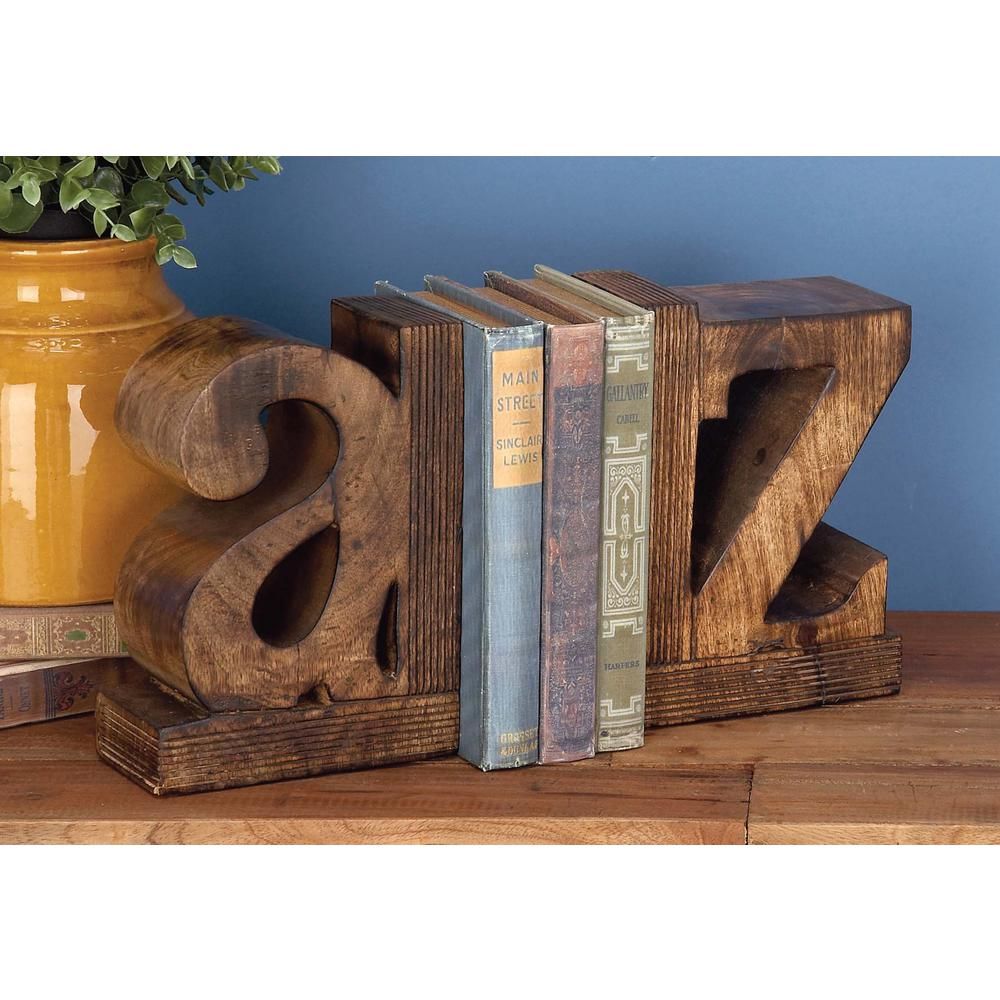 Fabulous 9 in. x 6 in. a-z Wooden Bookends-14413 - The Home Depot CR26