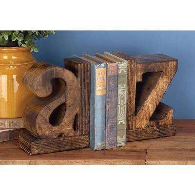 9 in. x 6 in. a-z Wooden Bookends